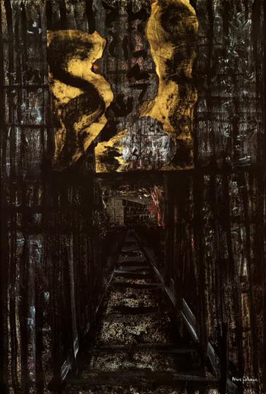 "67x49"" mixed media on canvas, 1985"